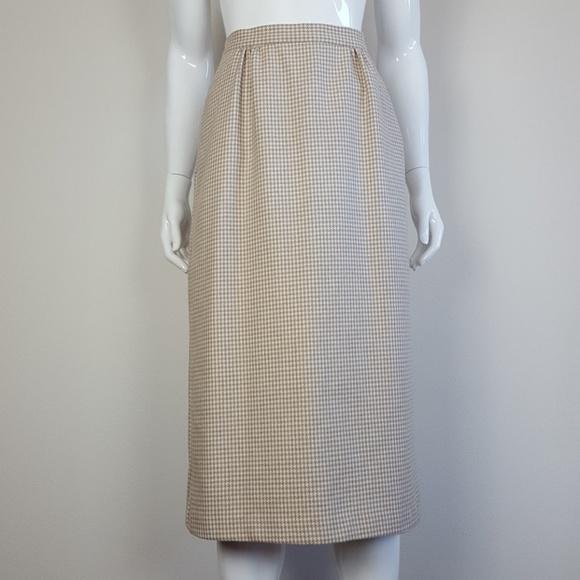 Vintage Dresses & Skirts - Vintage Tan Houndstooth Pencil Skirt